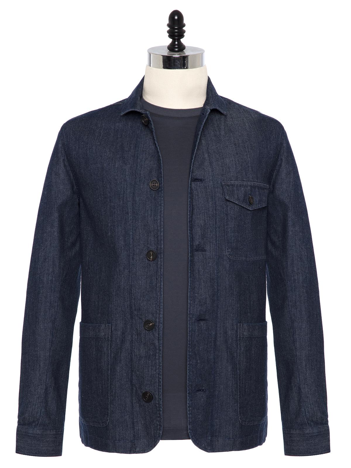 Germirli - Germirli Lacivert Denim Tailor Fit Ceket Gömlek