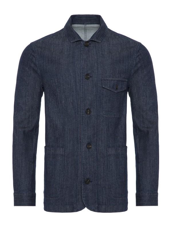 Germirli - Germirli Lacivert Denim Tailor Fit Ceket Gömlek (1)