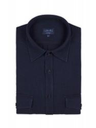 Germirli Lacivert Dokulu İndigo Tailor Fit Overshirt Gömlek - Thumbnail