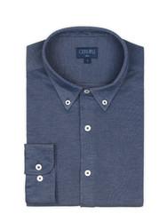 Germirli Lacivert Düğmeli Yaka Piquet Örme Slim Fit Gömlek - Thumbnail