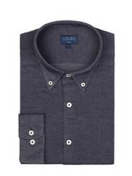 Germirli - Germirli Koyu Lacivert Düğmeli Yaka Piquet Örme Slim Fit Gömlek (1)