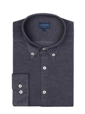 Germirli - Germirli Lacivert Düğmeli Yaka Piquet Örme Slim Fit Gömlek (1)