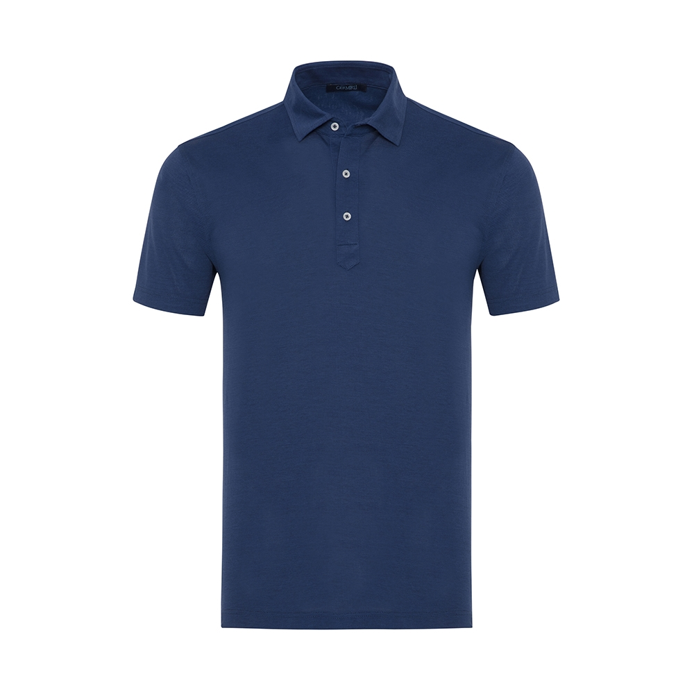 Germirli - Germirli Lacivert Gömlek Yaka Polo Tailor Fit T-Shirt