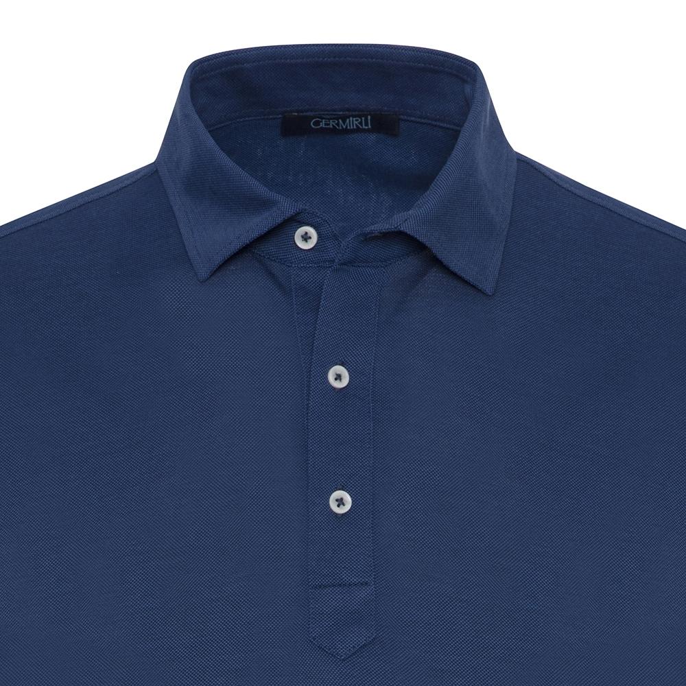 Germirli Lacivert Gömlek Yaka Polo Tailor Fit T-Shirt
