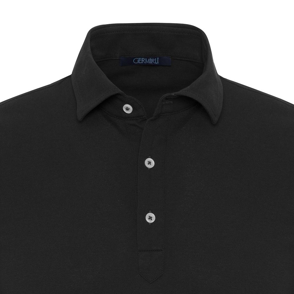 Germirli Lacivert Gömlek Yaka Polo Vintage Tailor Fit T-Shirt