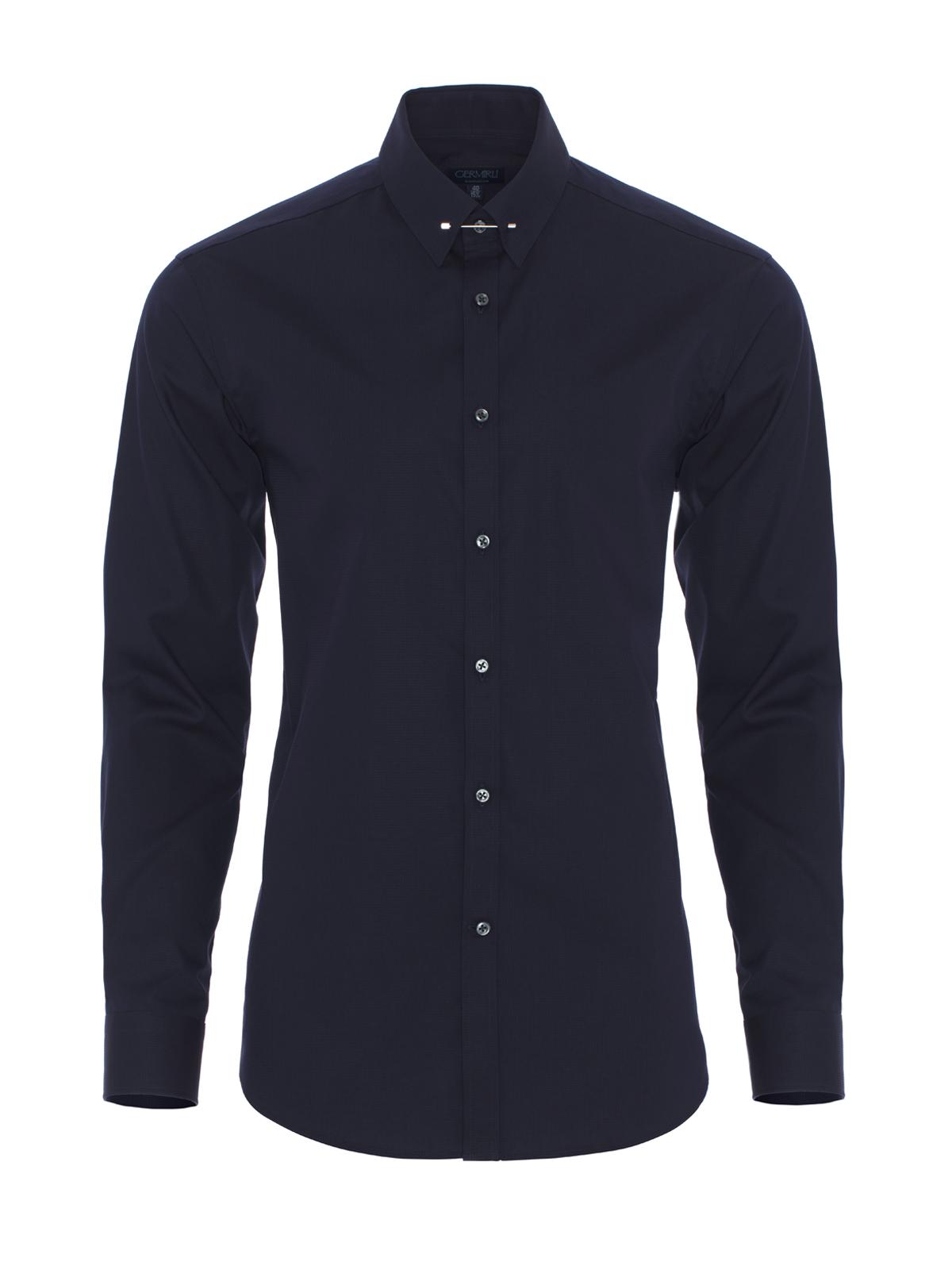 Germirli Lacivert İğneli Yaka Tailor Fit Gömlek