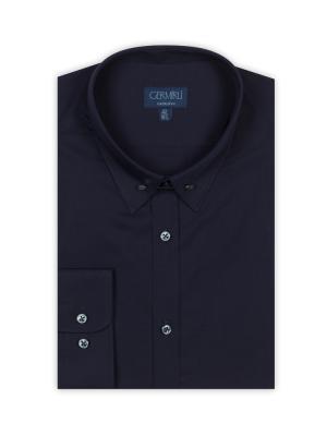 Germirli - Germirli Lacivert İğneli Yaka Tailor Fit Gömlek (1)