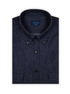 Germirli - Germirli Lacivert İndigo Flanel Tailor Fit Gömlek (1)