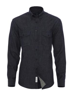 Germirli - Germirli Lacivert İndigo Flanel Tailor Fit Gömlek