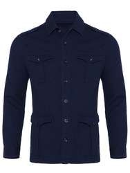 Germirli Lacivert İndigo Tailor Fit Ceket Gömlek - Thumbnail