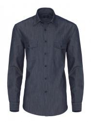 Germirli Lacivert İndigo Tailor Fit Gömlek - Thumbnail