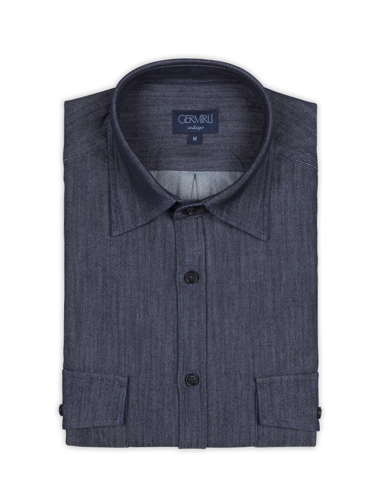 Germirli Lacivert İndigo Tailor Fit Gömlek