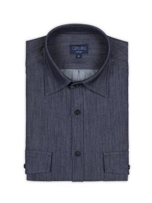 Germirli - Germirli Lacivert Çift Kapak Cepli İndigo Tailor Fit Gömlek (1)
