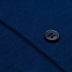 Germirli Lacivert Italyan Yaka Örme Slim Fit Gömlek - Thumbnail