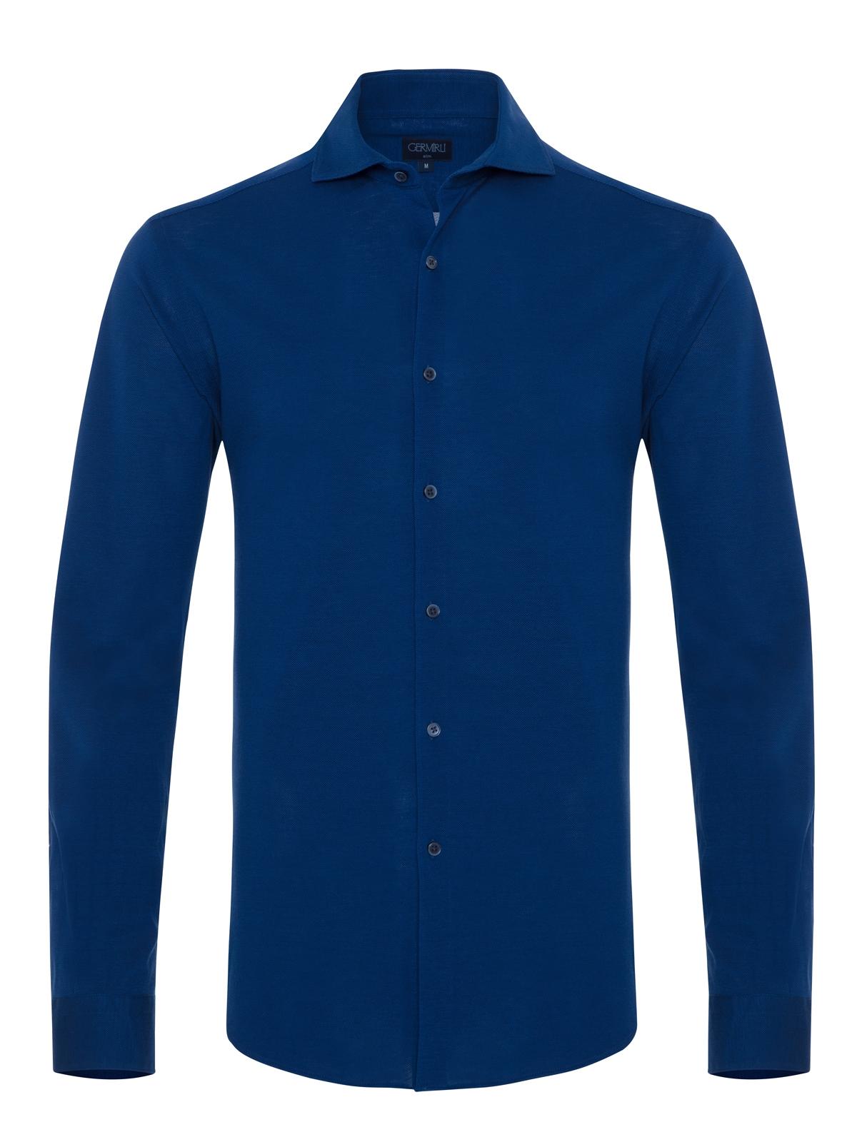 Germirli - Germirli Lacivert Italyan Yaka Örme Slim Fit Gömlek