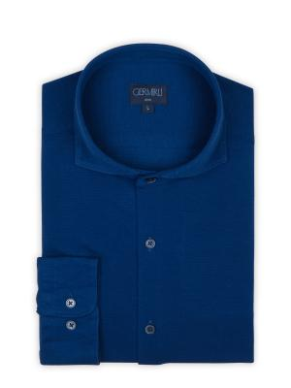Germirli - Germirli Lacivert Italyan Yaka Örme Slim Fit Gömlek (1)