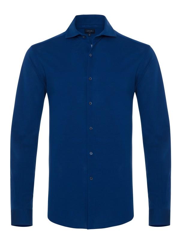 Germirli Lacivert Italyan Yaka Örme Slim Fit Gömlek