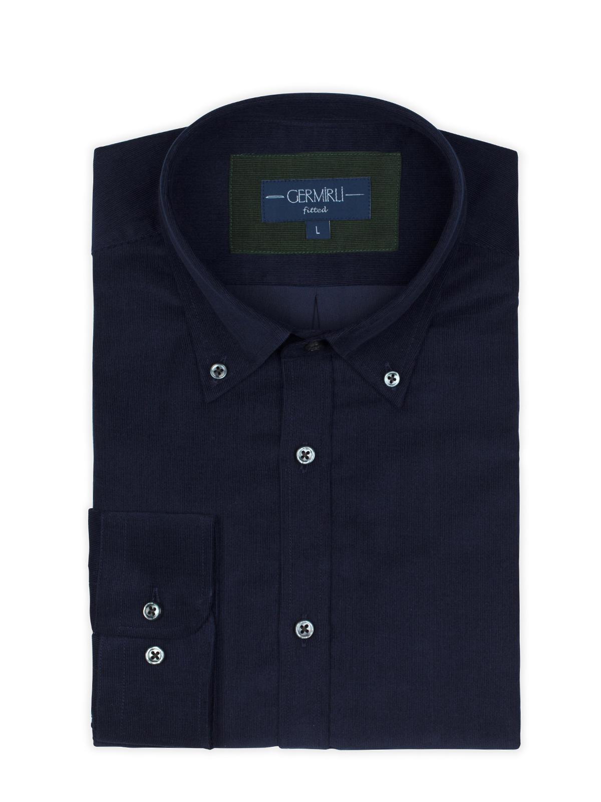 Germirli Lacivert Kadife Düğmeli Yaka Tailor Fit Gömlek