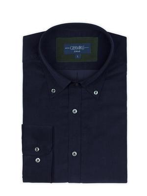 Germirli - Germirli Lacivert Kadife Düğmeli Yaka Tailor Fit Gömlek (1)