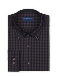 Germirli - Germirli Lacivert Kahverengi Kareli Düğmeli Yaka Tailor Fit Gömlek (1)