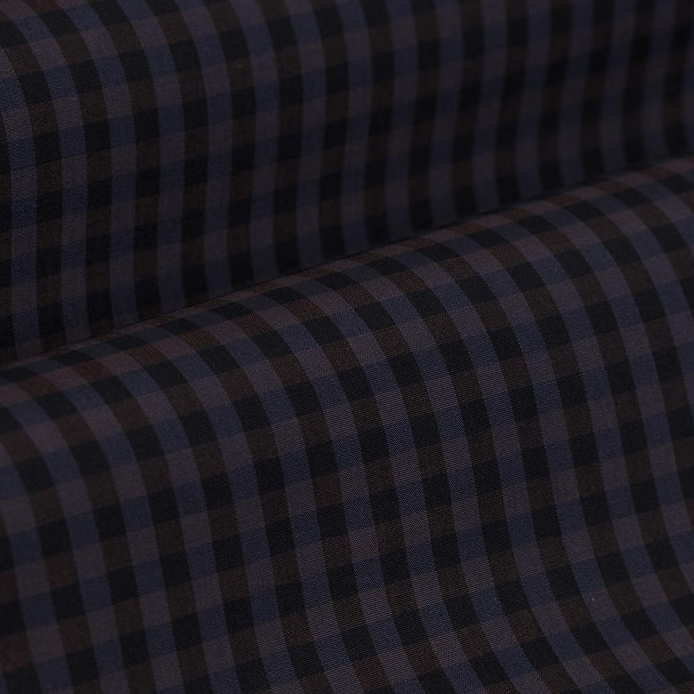 Germirli Lacivert Kahverengi Kareli Düğmeli Yaka Tailor Fit Gömlek
