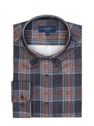 Germirli - Germirli Lacivert Kahverengi Kareli Kadife Düğmeli Yaka Tailor Fit Gömlek (1)