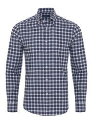 Germirli - Germirli Lacivert Kareli Düğmeli Yaka Flanel Tailor Fit Gömlek