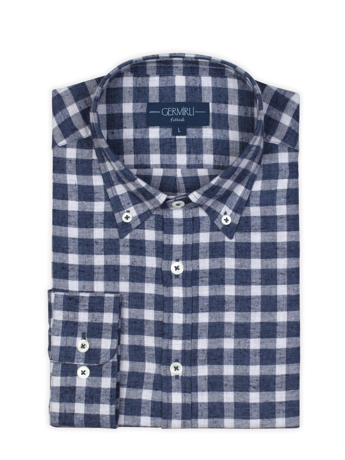 Germirli Lacivert Kareli Düğmeli Yaka Flanel Tailor Fit Gömlek