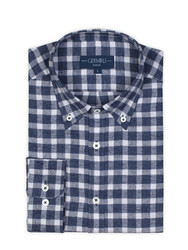 Germirli - Germirli Lacivert Kareli Düğmeli Yaka Flanel Tailor Fit Gömlek (1)