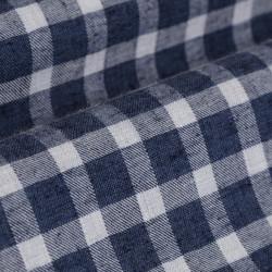 Germirli Lacivert Kareli Düğmeli Yaka Flanel Tailor Fit Gömlek - Thumbnail