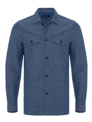 Germirli - Germirli Çivit Mavisi Filafil Keten Tailor Fit Ceket Gömlek (1)