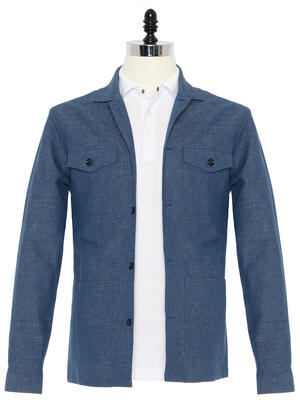 Germirli Çivit Mavisi Filafil Keten Tailor Fit Ceket Gömlek