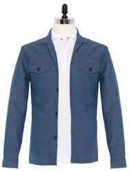 Germirli - Germirli Çivit Mavisi Filafil Keten Tailor Fit Ceket Gömlek