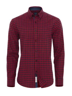 Germirli - Germirli Lacivert Kırmızı Kareli Flanel Tailor Fit Gömlek
