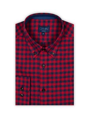 Germirli - Germirli Lacivert Kırmızı Kareli Flanel Tailor Fit Gömlek (1)
