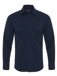 Germirli Lacivert Klasik Yaka Flanel Tailor Fit Overshirt Gömlek - Thumbnail