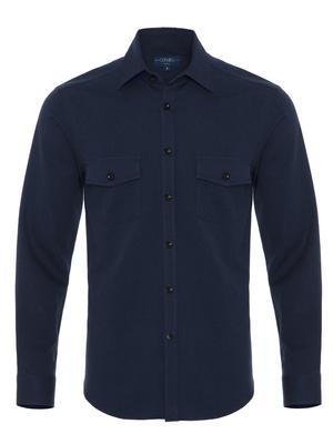 Germirli - Germirli Lacivert Klasik Yaka Flanel Tailor Fit Overshirt Gömlek