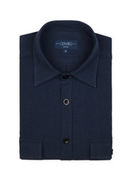 Germirli - Germirli Lacivert Klasik Yaka Flanel Tailor Fit Overshirt Gömlek (1)