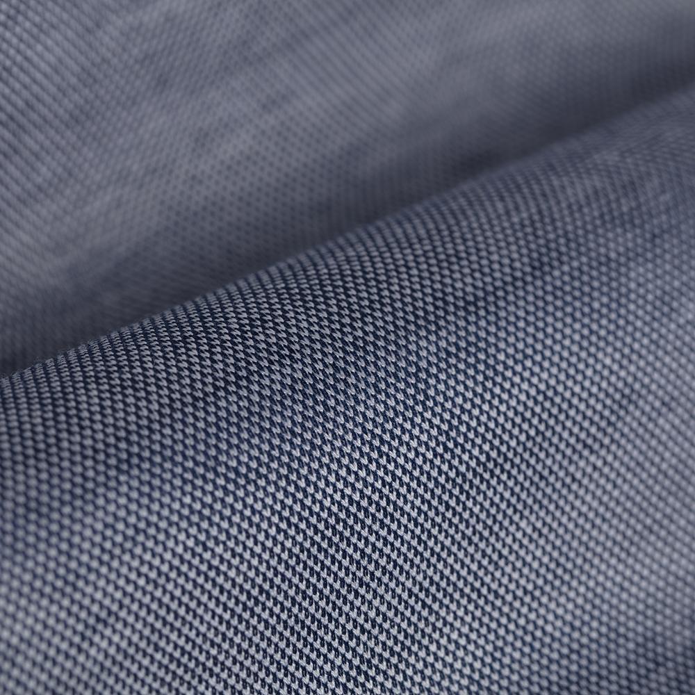 Germirli Lacivert Klasik Yaka Örme Kısa Kollu Slim Fit Gömlek