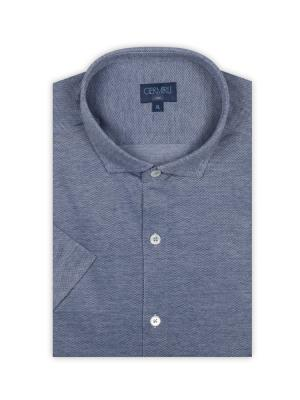 Germirli - Germirli Lacivert Klasik Yaka Örme Kısa Kollu Slim Fit Gömlek (1)