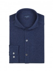 Germirli - Germirli Lacivert Klasik Yaka Piquet Örme Slim Fit Gömlek (1)