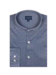 Germirli - Germirli Lacivert Klasik Yaka Örme Slim Fit Gömlek (1)