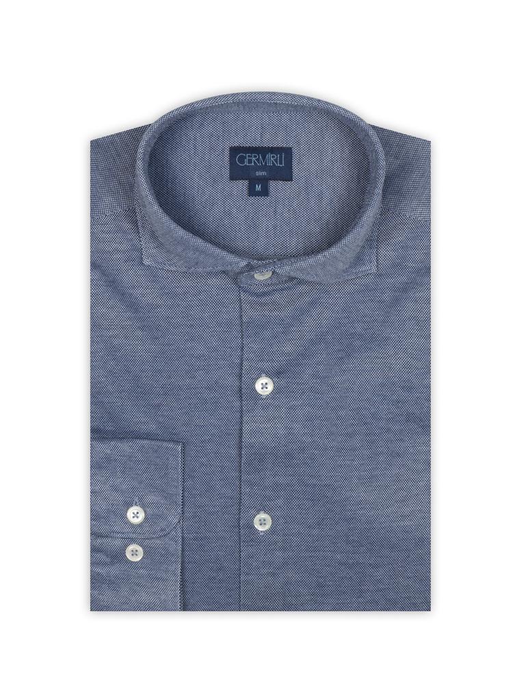 Germirli Lacivert Klasik Yaka Örme Slim Fit Gömlek