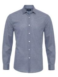 Germirli - Germirli Lacivert Klasik Yaka Piquet Örme Tailor Fit Gömlek