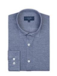 Germirli - Germirli Navy Soft Collar Jersey Tailor Fit Shirt (1)