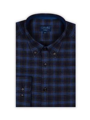 Germirli - Germirli Lacivert Mavi Gri Kareli Flanel Tailor Fit Gömlek (1)