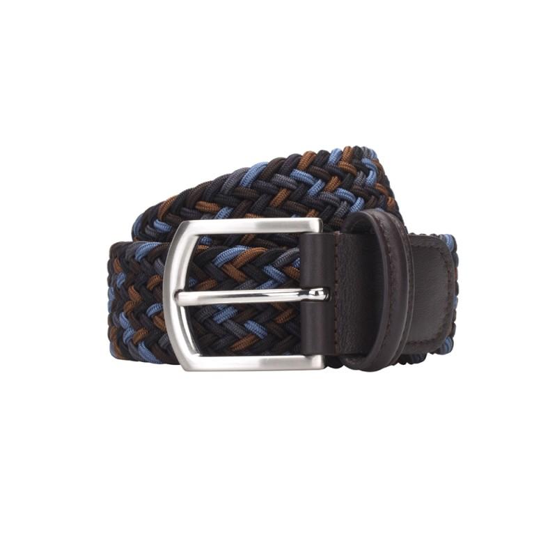 Germirli - Germirli Lacivert Mavi Kahverengi Örgü El Yapımı Kemer