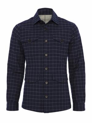 Germirli - Germirli Lacivert Mavi Kareli Cepli Gömlek
