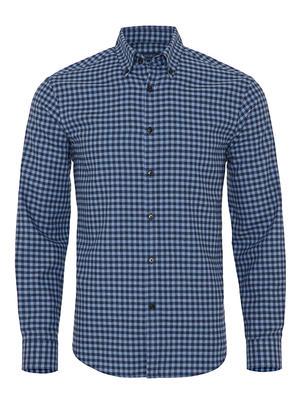 Germirli - Germirli Lacivert Mavi Kareli Düğmeli Yaka Flanel Tailor Fit Gömlek