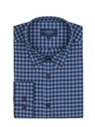 Germirli Lacivert Mavi Kareli Düğmeli Yaka Flanel Tailor Fit Gömlek - Thumbnail